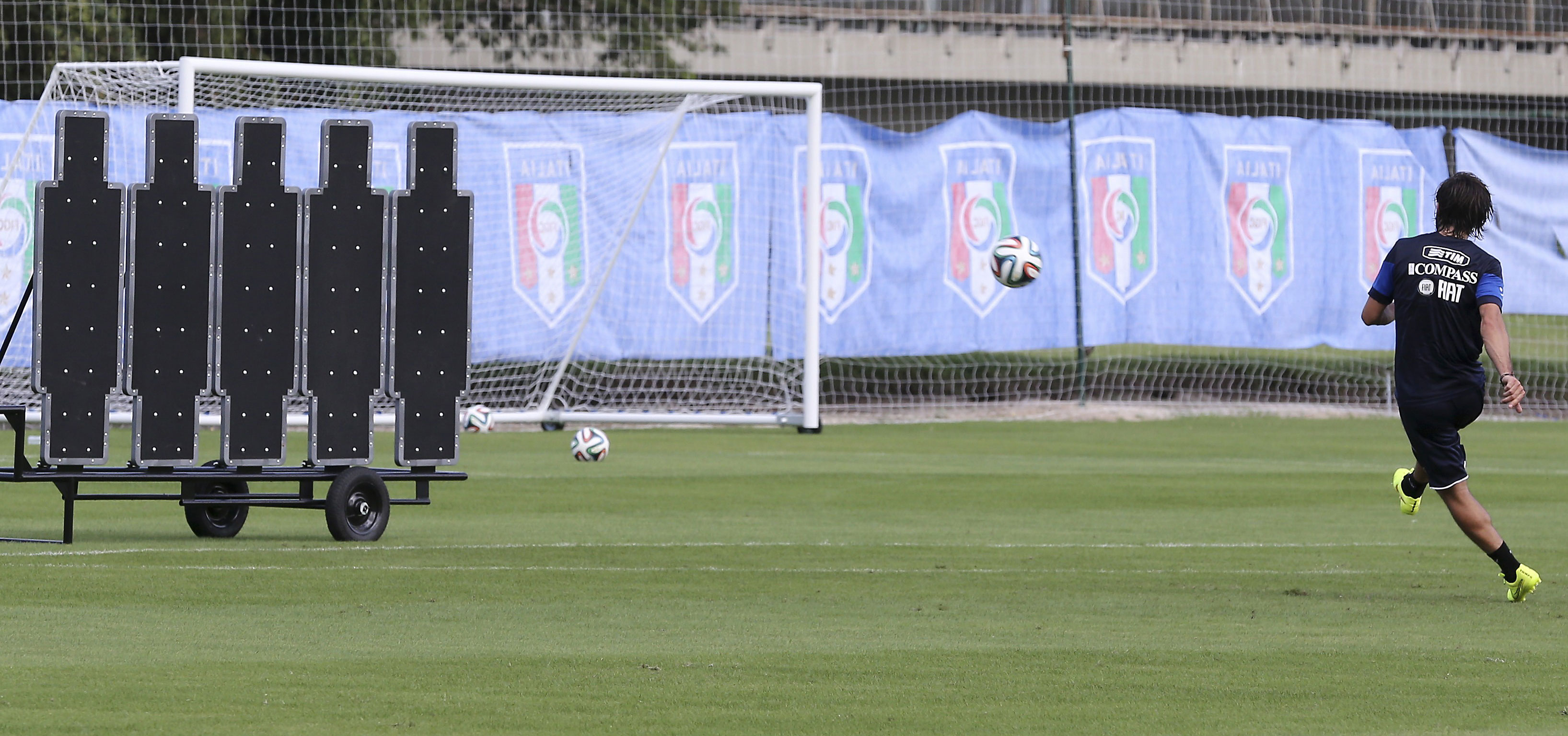 Italy's Andrea Pirlo practices shooting free kicks during a training session for the World Cup in Mangaratiba, Brazil, on June 11.