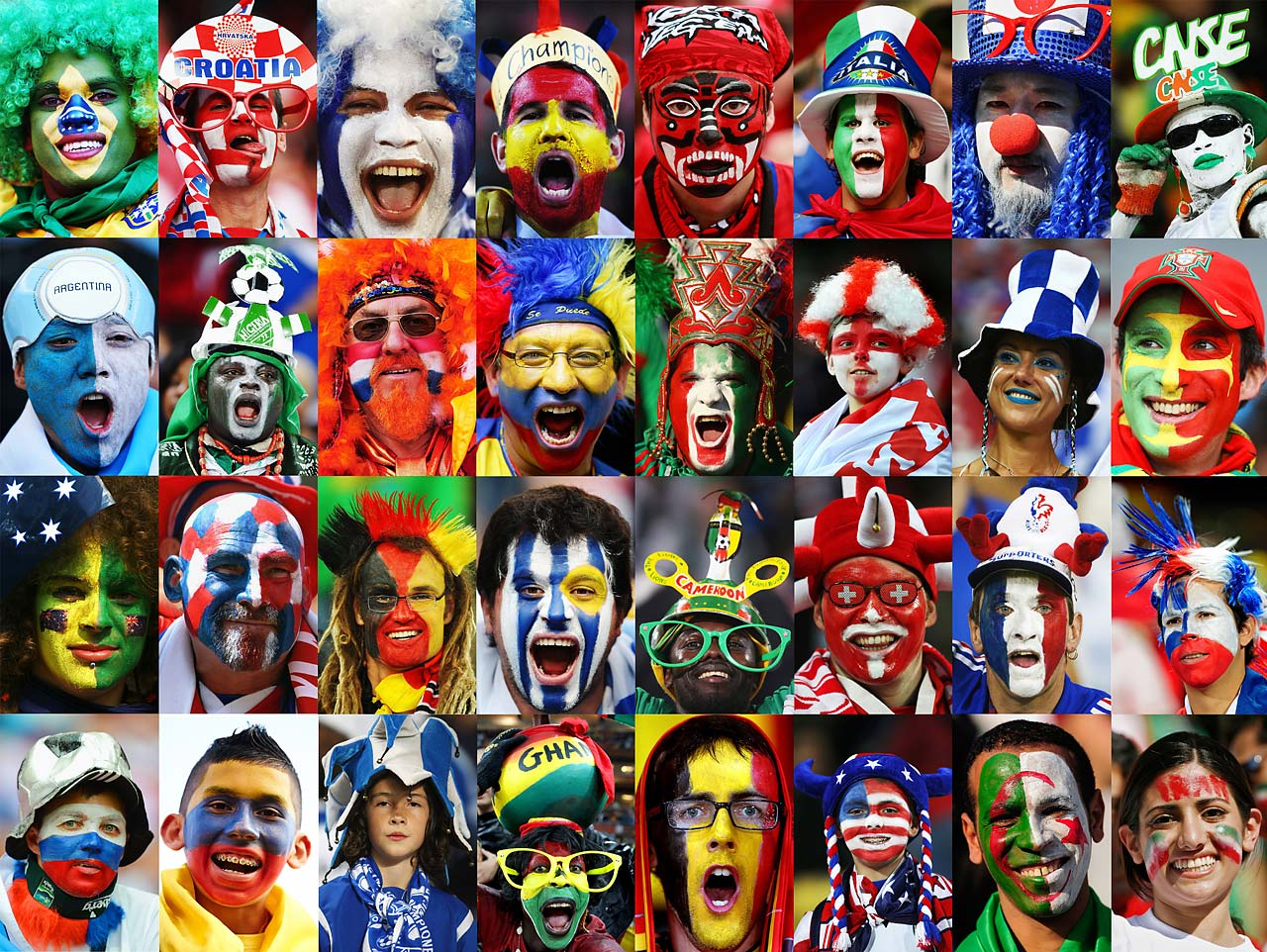 This composite image shows a fan of each of the 32 national teams taking part in the 2014 World Cup.