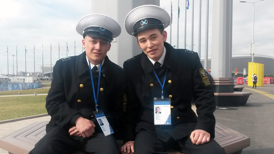 Russian navy men Damir Khamitov and Alexei Schivilov hope to check out a hockey game before the Olympics end.