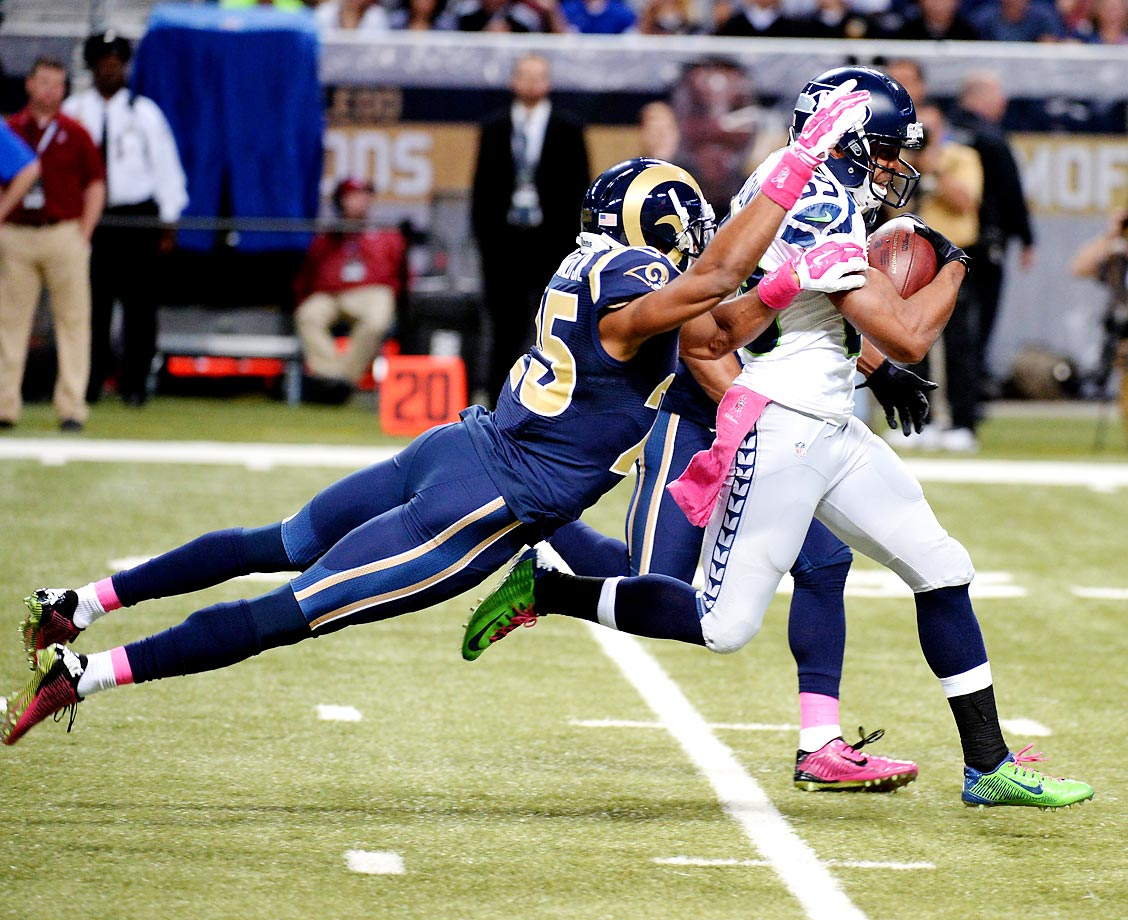 Doug Baldwin finished with seven receptions for 123 yards and one touchdown in Seattle's loss to St. Louis.