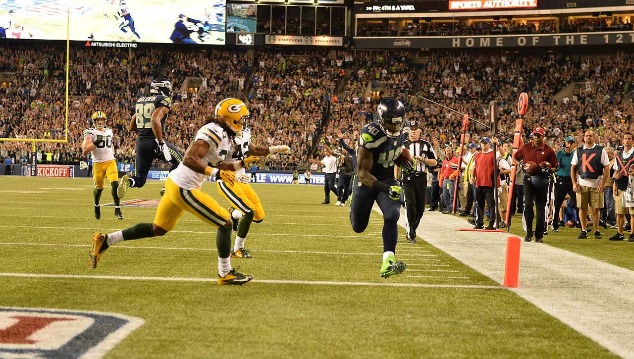 Seahawks fullback Derrick Coleman got in on the scoring with this touchdown in the fourth quarter.