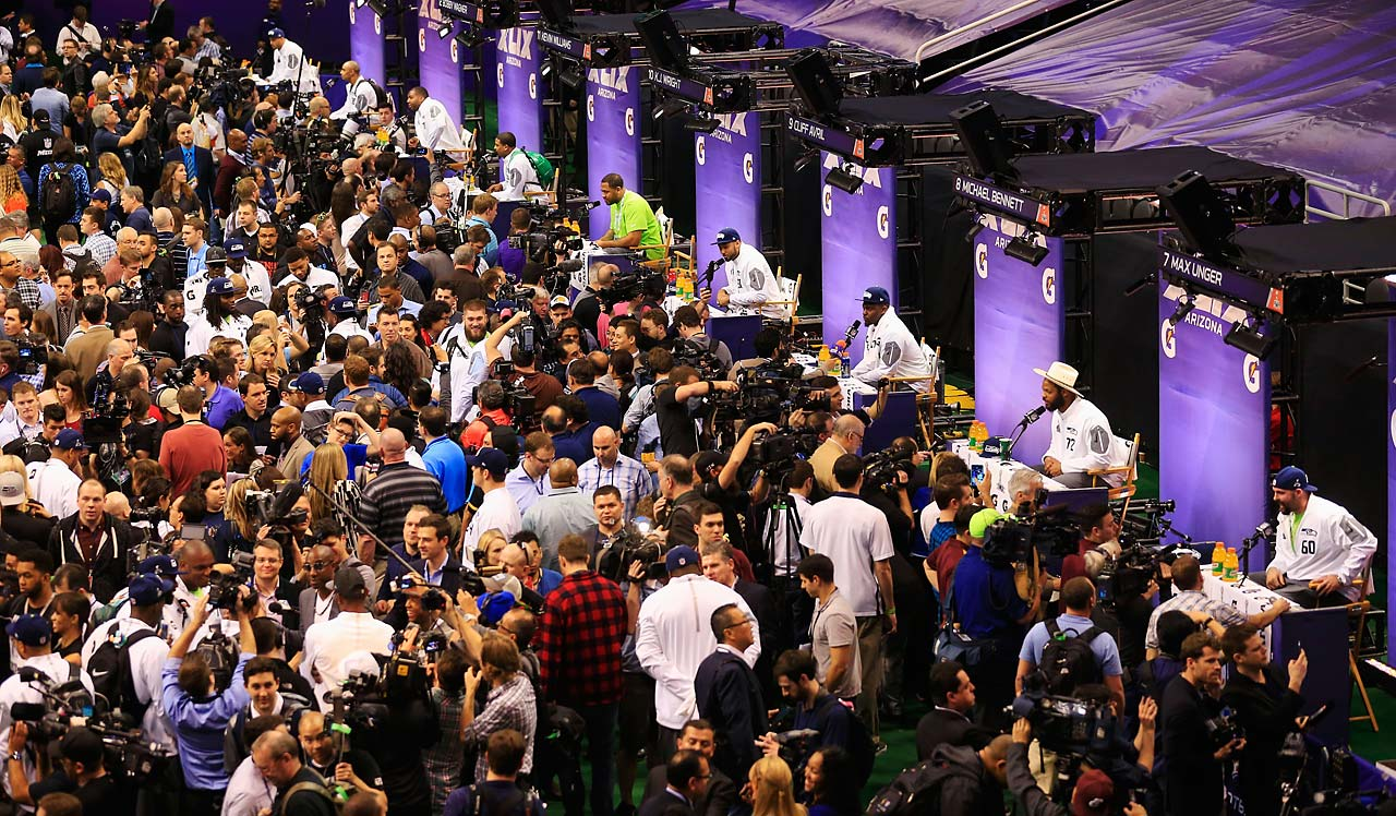 A general view during the Seattle Seahawks session during Super Bowl XLIX Media Day.