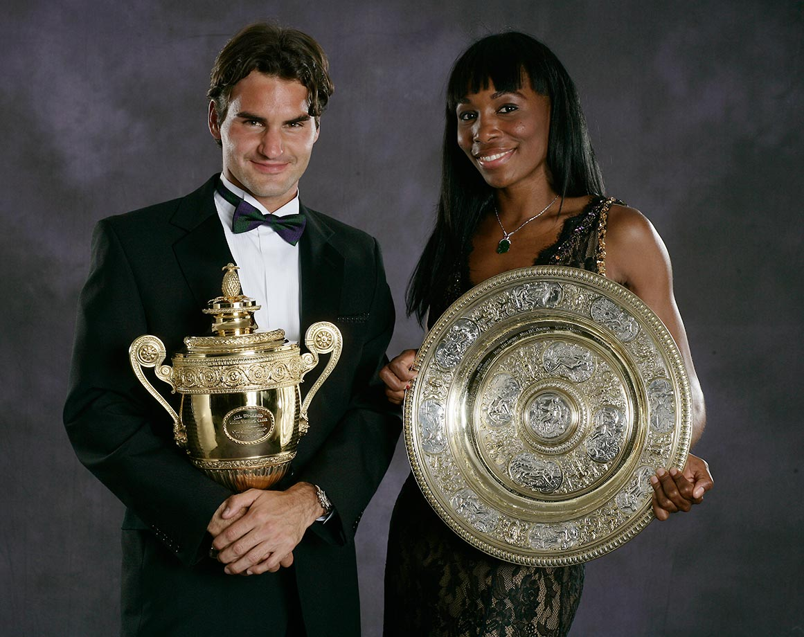 Venus became the lowest ranked woman to ever win Wimbledon when she took the title in 2007. Here she is with fellow winner Roger Federer.