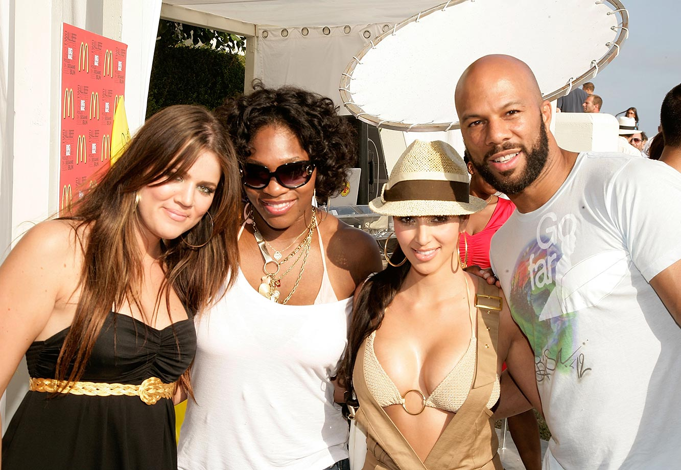 The Williams sisters haven't limited their focus to just tennis. In 2009, the pair purchased a stake in the Miami Dolphins, becoming the first female African-Americans to own a stake in an NFL franchise. Here Serena poses with reality stars Kim and Khloe Kardashian and rapper Common.