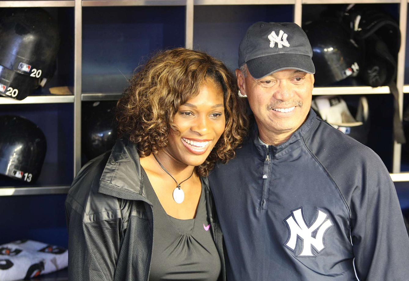 Serena is seen here enjoying a White Sox-Yankees game with former-Bronx bomber Reggie Jackson.