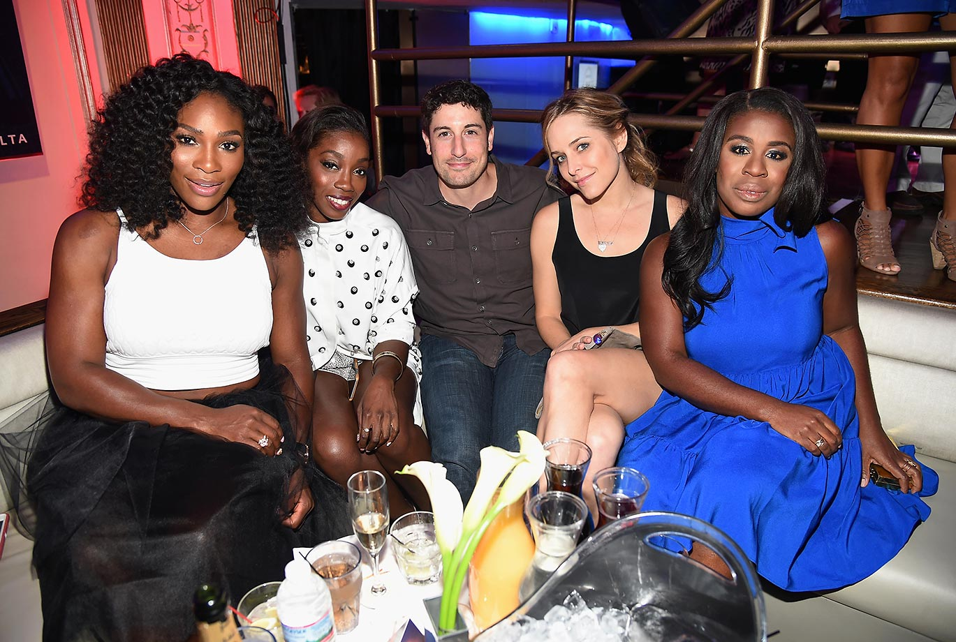 Serena, with Estelle, Jason Biggs, Jenny Mollen and Uzo Aduba at the 2nd Annual Delta Open Mic, a few days before the 2015 U.S. Open began.
