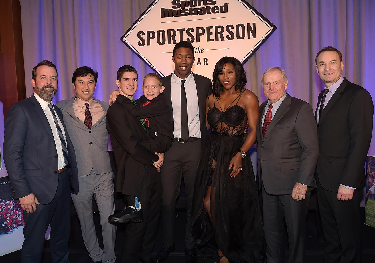 Managing Editor of Sports Illustrated Kids Mark Bechtel,  Managing Editor for Sports Illustrated Chris Stone, Award winners SI High School Athlete of the Year Hunter Gandee, with brother Braden Gandee, SI Kids 2015 SportsKid of the Year Reece Whitley, SI 2015 Sportsperson of the Year Serena Williams, SI Muhammad Ali Legacy Award Recipient Jack Nicklaus and Time Inc. Sports Group Editor Paul Fichtenbaum.