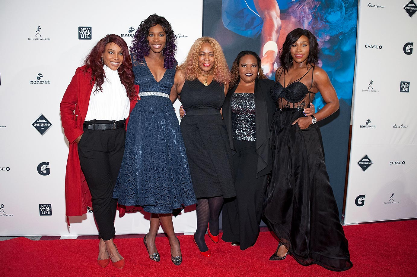 Lyndrea Price, Venus Williams, Oracene Price, Isha Price, and Serena Williams.