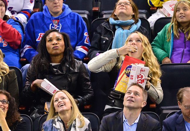 Serena and Wozniacki at the Rangers-Jets game at Madison Square Garden.
