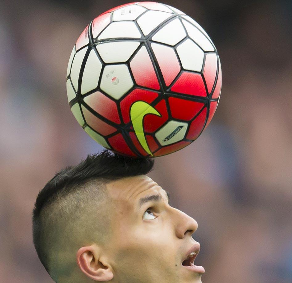 Sergio Aguero of Manchester City celebrates scoring his third goal against Newcastle.