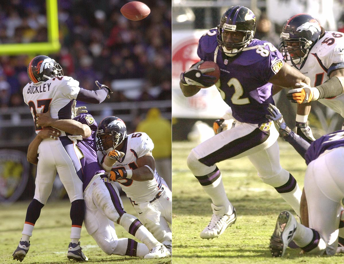 2000: Ravens' Shannon Sharpe catches 58-yard TD pass that bounces off Denver defenders in a first-round playoff game.
