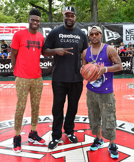 From the left, Philadelphia 76ers center Nerlens Noel, Shaquille O'Neal and Cam'ron.