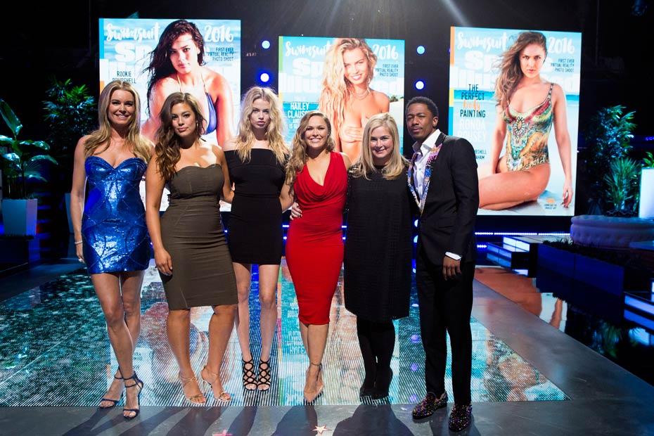 Rebecca Romijn, Ashley Graham, Hailey Clauson, Ronda Rousey (SI Swimsuit editor) MJ Day and Nick Cannon