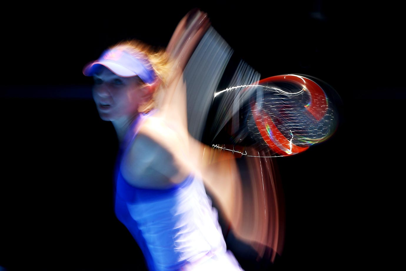 Simona Halep of Romania blur action during her match against Karin Knapp.