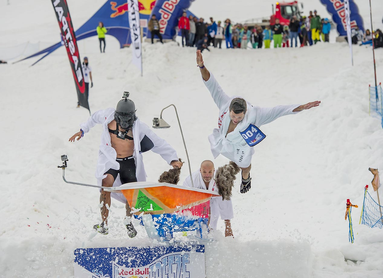 Competitors perform during the Red Bull Jump & Freeze at Mzaar Ski Resort in Kfardebian, Lebanon.