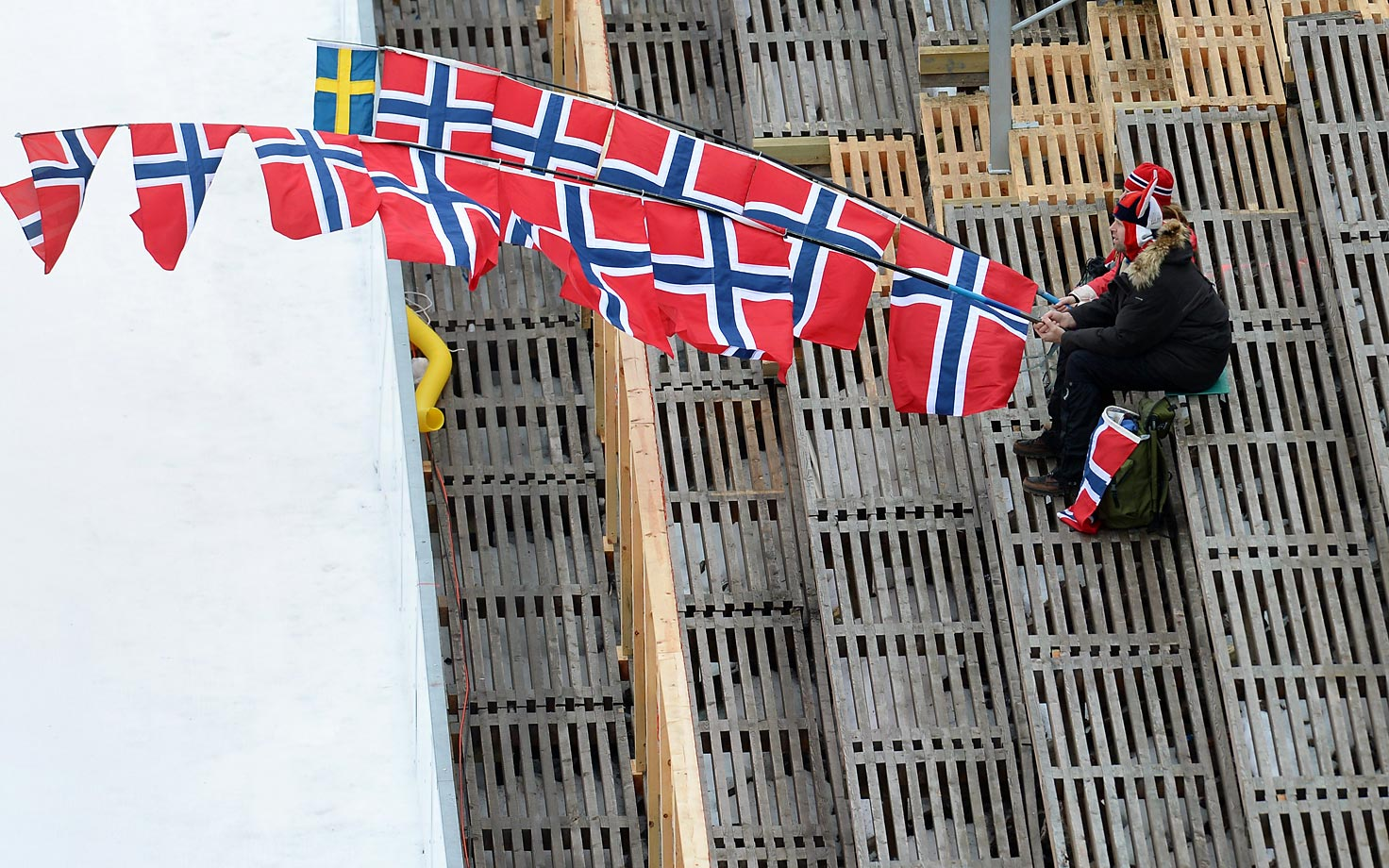 A Norwegian fan at the Nordic Combined ski jumping competition in Falun, Sweden.