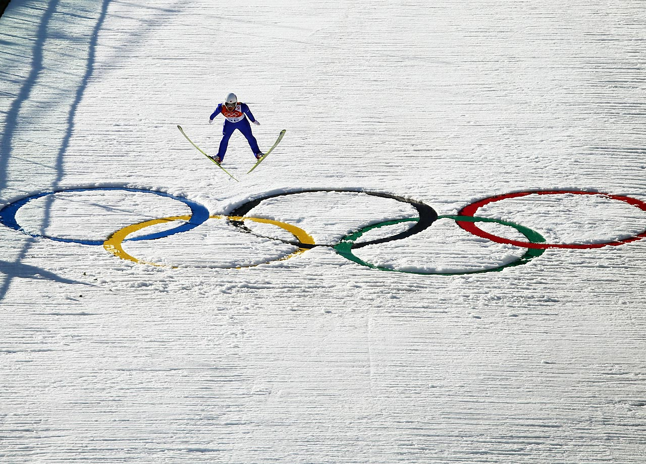 Hideaki Nagai of Japan jumps during the Nordic Combined Individual on Wednesday.