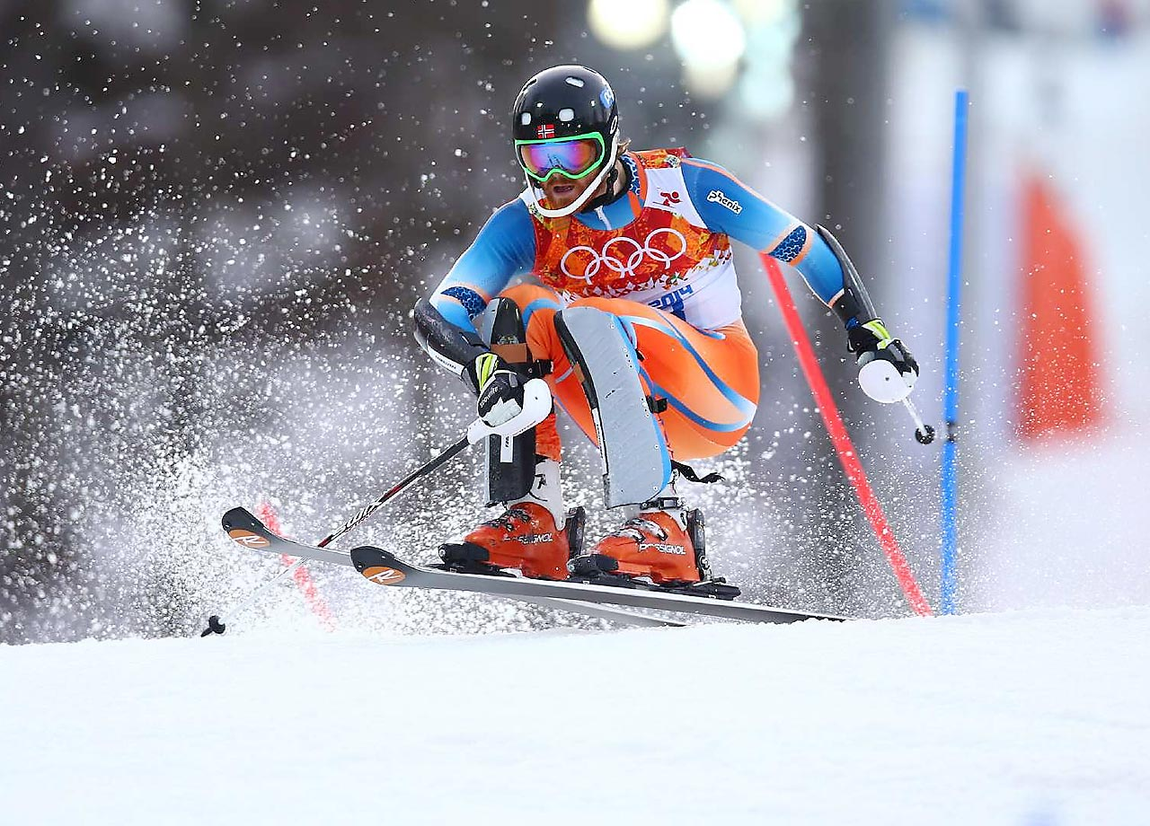 Leif Kristian Haugen of Norway catching air here, came in 23rd in the Slalom.