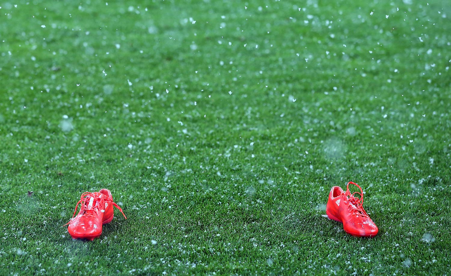 A pair of soccer cleats alone prior to the Bundesliga match between FC Augsburg and 1899 Hoffenheim.