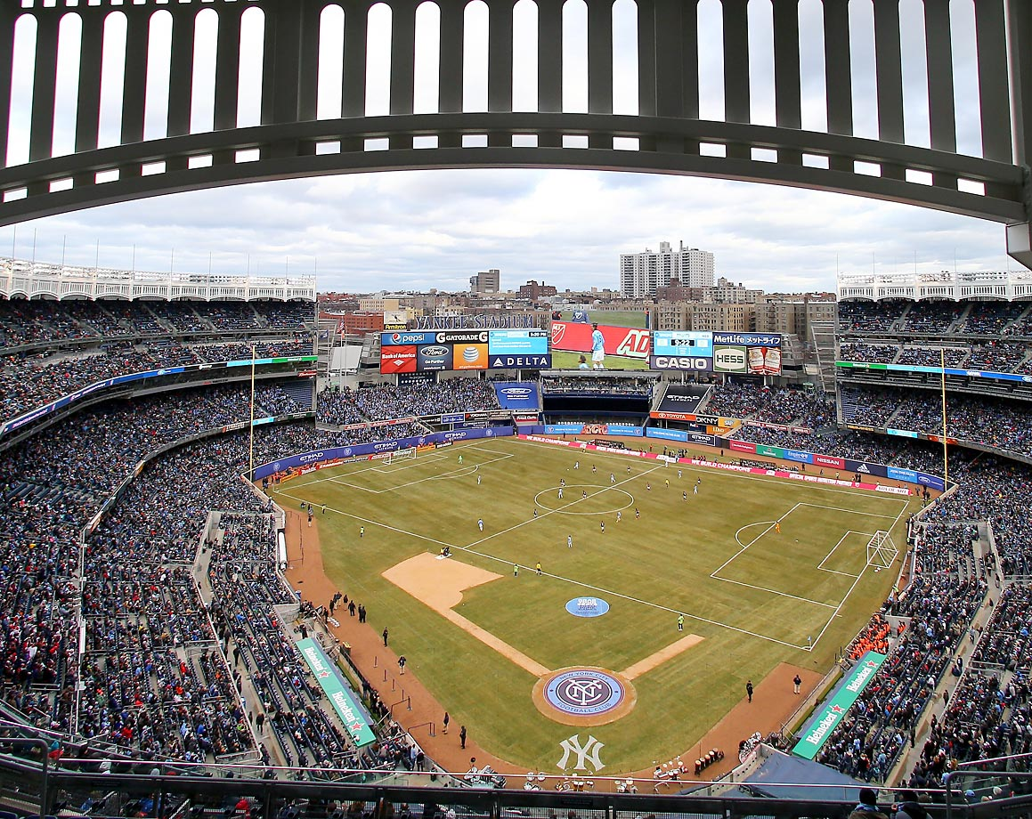 Yankee Stadium as a soccer field as the New York City FC take on the New England Revolution in the inaugural game of the New York City FC at the Stadium.