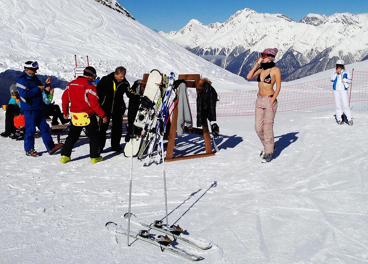 Skiers take a break at Gornaya Karusel Ski Resort.