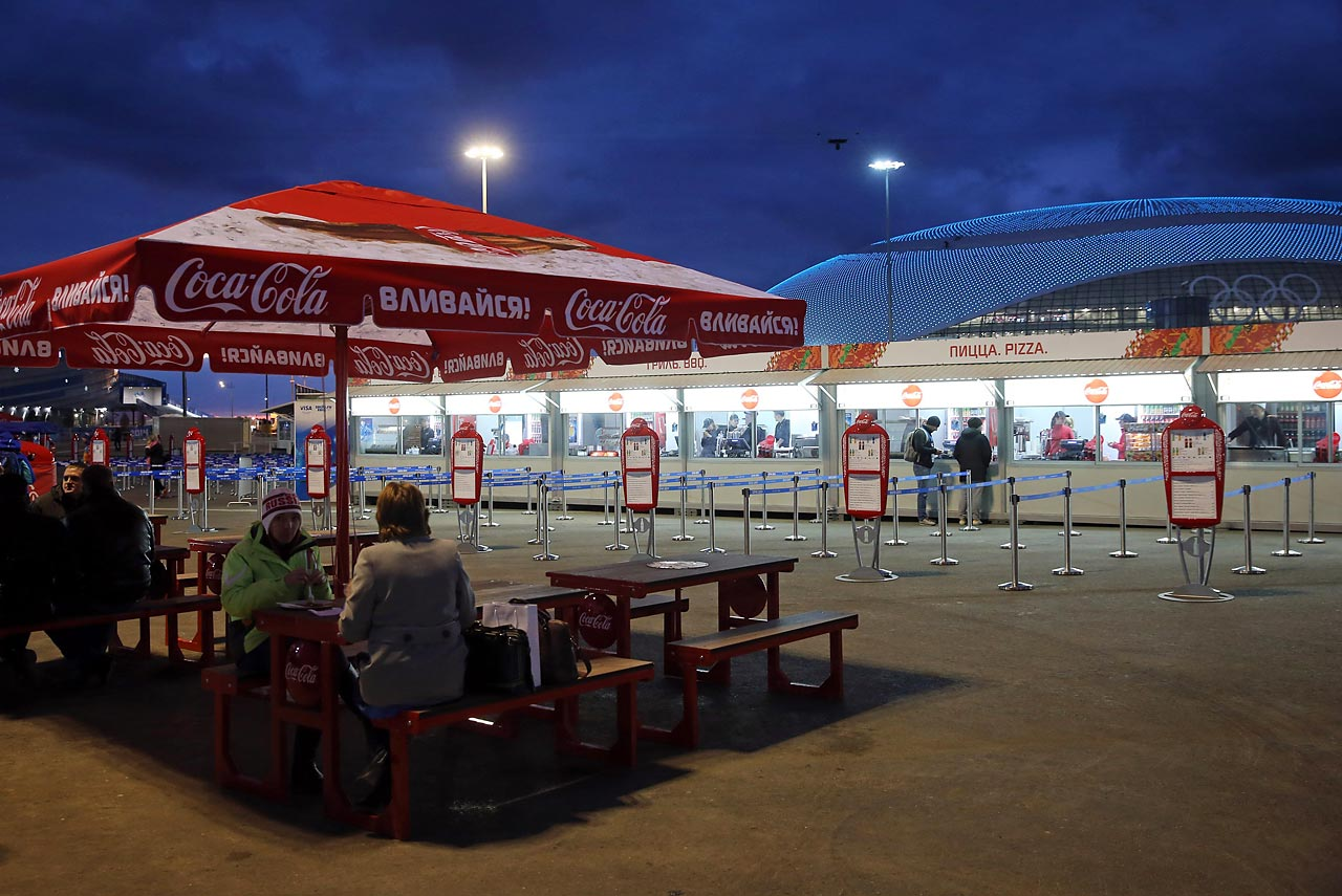 A snack bar inside Olympic Park in front of the Bolshoy Ice Dome.
