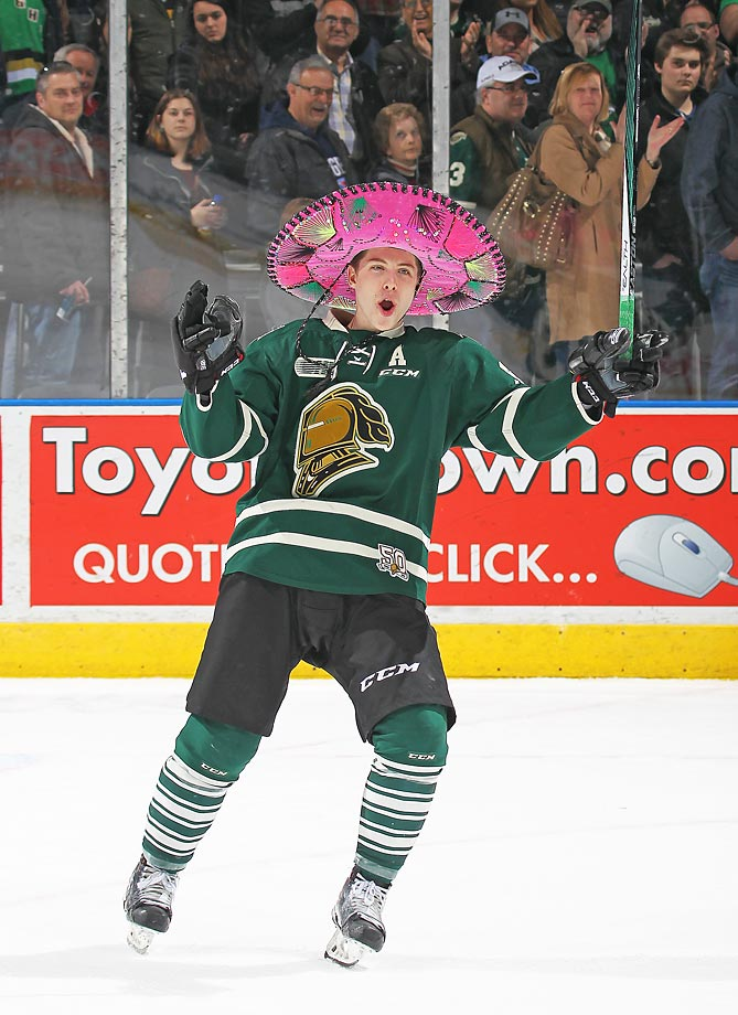 Mitchell Marner of the London Knights sports a sombrero for scoring three goals and being named the 1st star against the Kitchener Rangers, in Game 2 of the Western Conference quarterfinals at Budweiser Gardens in London, Ontario, Canada.