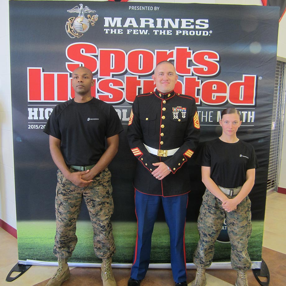 SSgt Melvin Wells, GySgt Derick Kneeland and Pvt Zabrina King were on hand to help celebrate Sosa's section as the SI High School of the Month, presented by the U.S. Marine Corps.