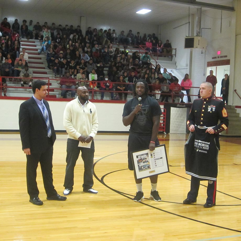 Sosa Agim thanks his coaches, friends and family at a pep rally at Hope High to recognize him as SI's High School Athlete of the Month selection for November.