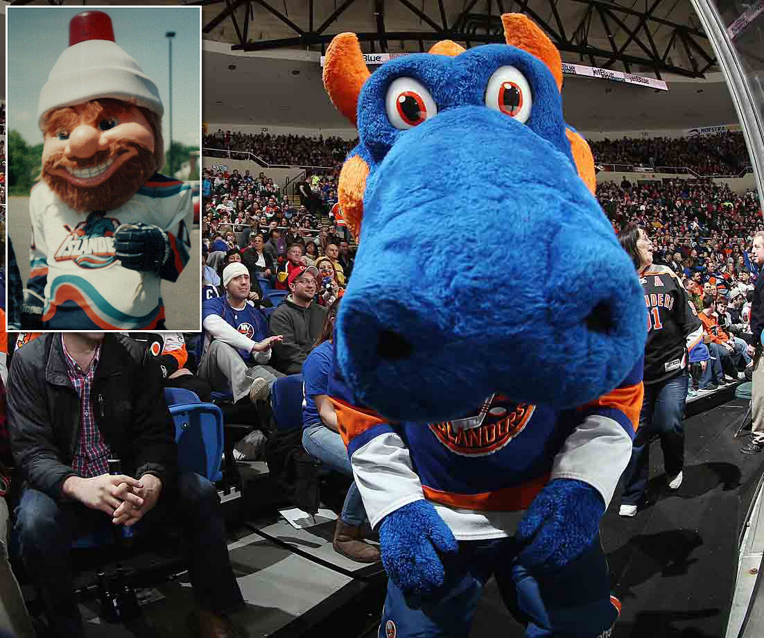 What hath a dragon to do with the Islanders? Like Montreal's Youppi!, Sparky was once employed by a team in another sport (in this case Charles Wang's NY Dragons of the Arena Football League). After Wang bought the Isles in 2000, Sparky replaced the shabby, vaguely creepy Nyisles (inset), who was supposed to be seafarer like the fisherman on the team's infamous crest of mid-90s.