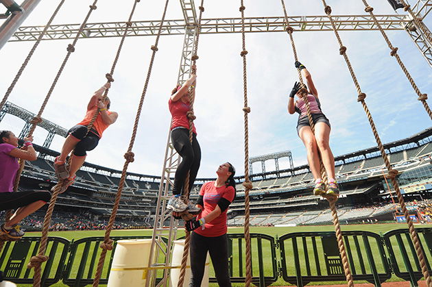 A general view of atmosphere during the Reebok Spartan Race in at Citi Field on April 12, 2014 in New York City.
