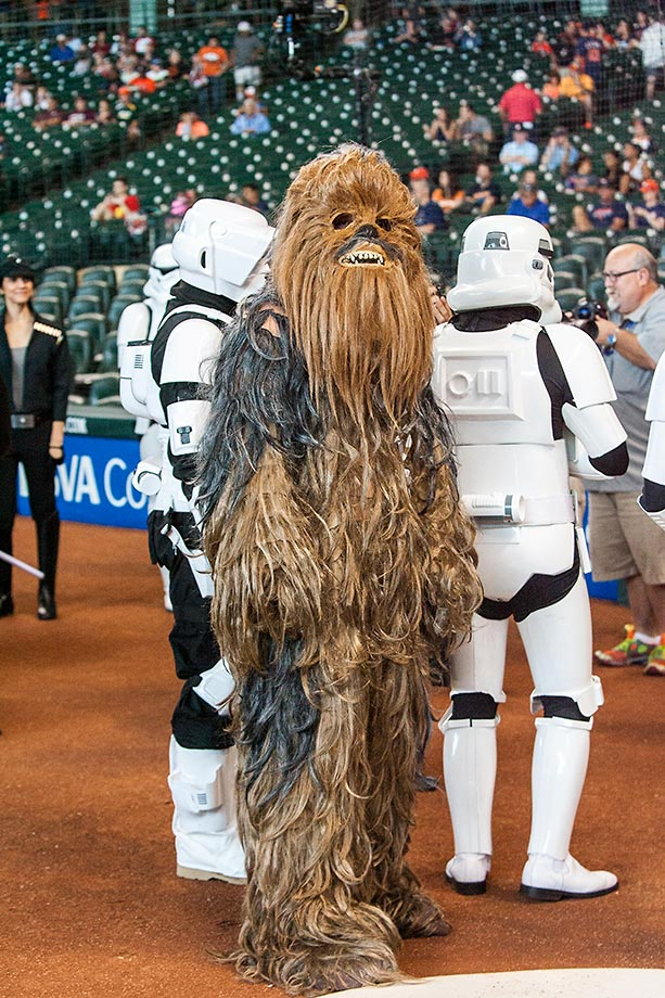 Chewbacca is on the field during Star Wars Day before the game between the Houston Astros and the Minnesota Twins.