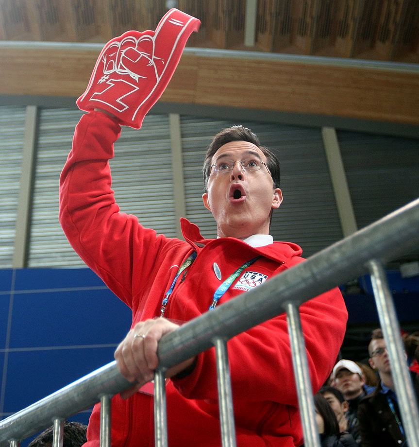Stephen Colbert cheers on the competitors at the Richmond Olympic Oval prior to the start of the men's speed skating 1000 meter finals on Feb. 17, 2010 during the Winter Olympics in Vancouver, Canada.