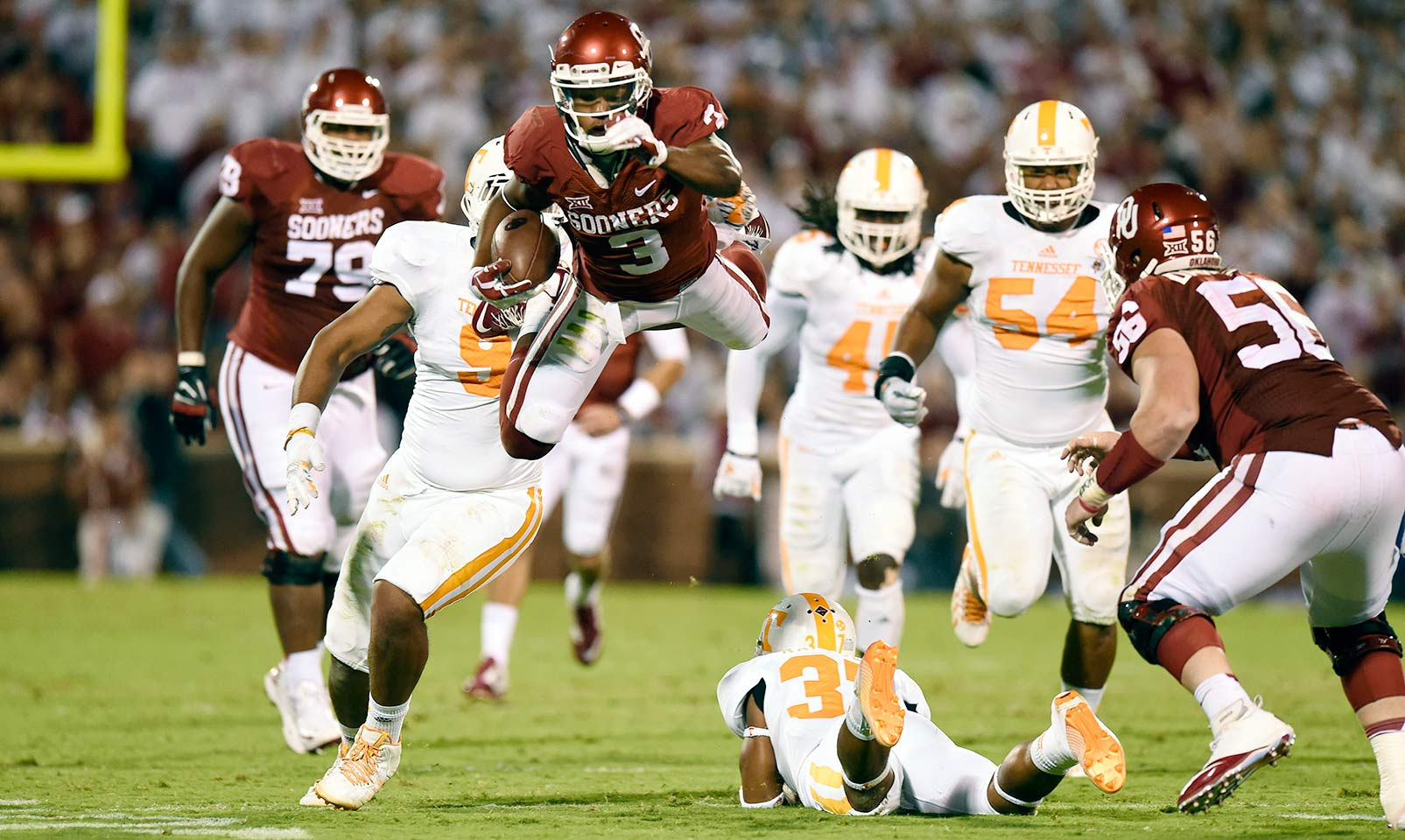 Oklahoma 31, Tennessee 24 (2OT): The Sooners rallied from a 17–3 fourth-quarter deficit, tying the game with 40 seconds left on a Sterling Shepard touchdown reception. Shepard's second touchdown grab in double overtime and Zack Sanchez's interception sealed the win over the Volunteers.