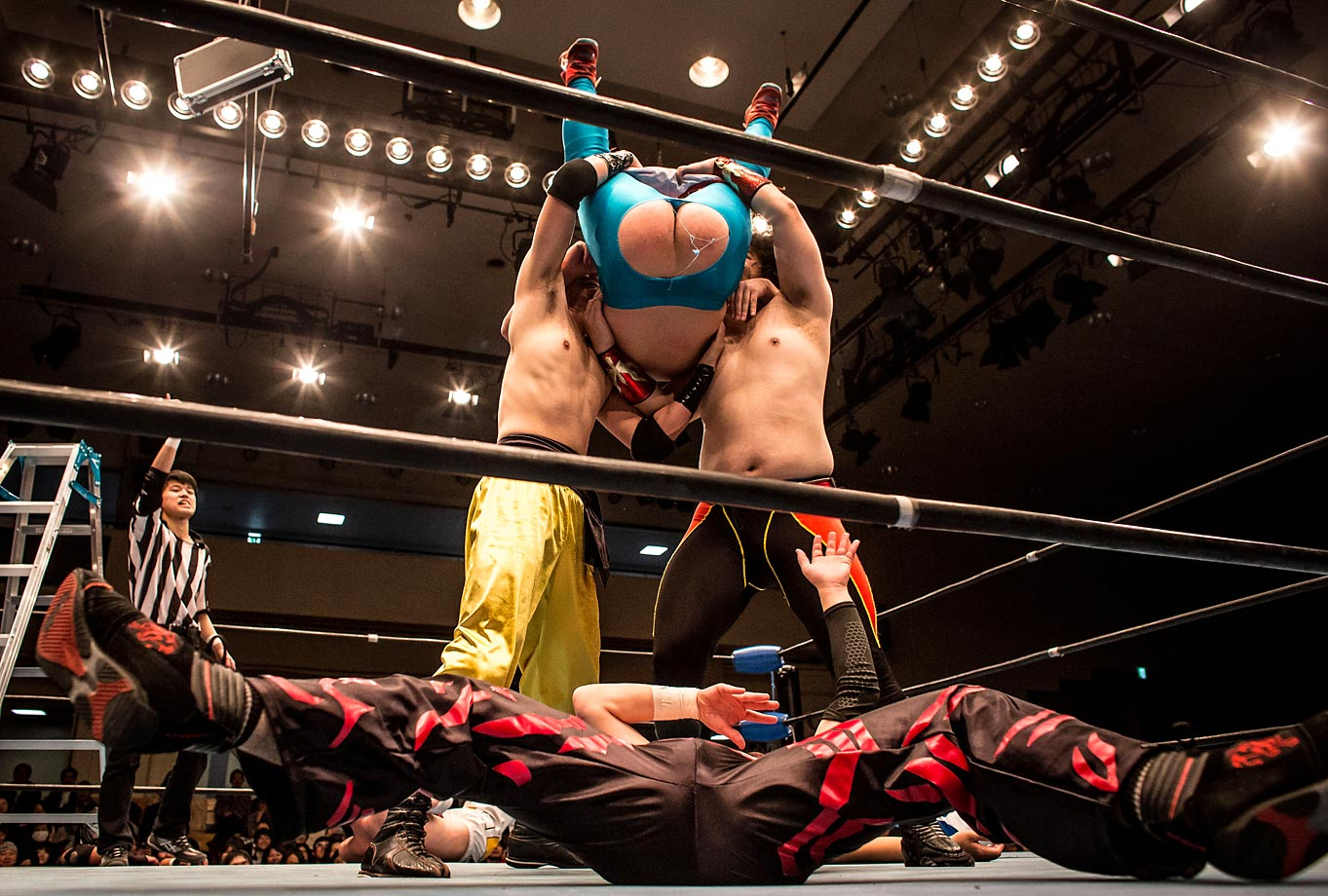 Student wrestlers during the Student Pro-Wrestling Summit in Tokyo, Japan. Members of college pro-wrestling clubs from all across Japan gathered to compete in their final graduation fight night.