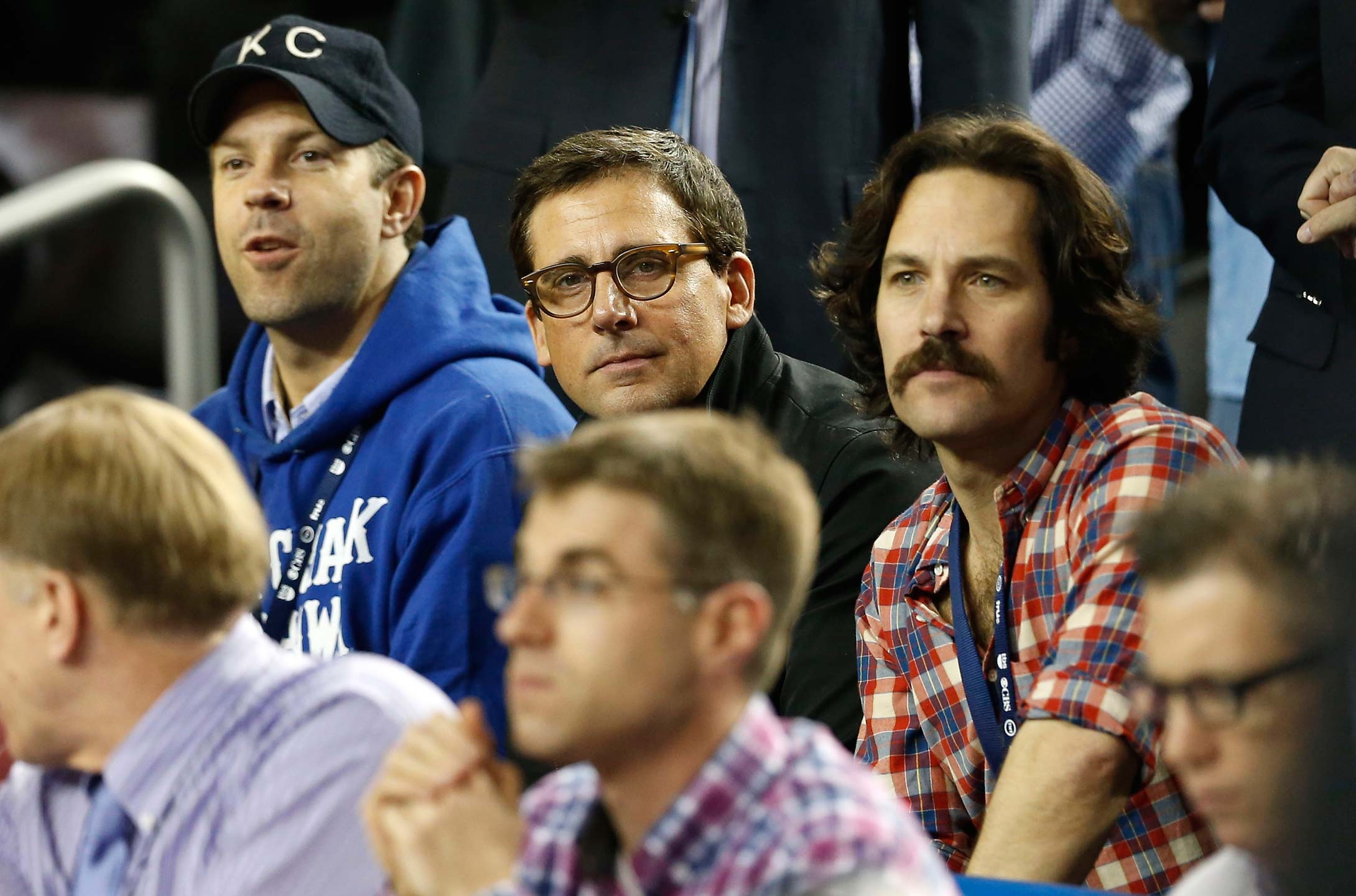 Jason Sudeikis, Steve Carell and Paul Rudd at the 2013 final between Louisville and Michigan at the Georgia Dome in Atlanta.
