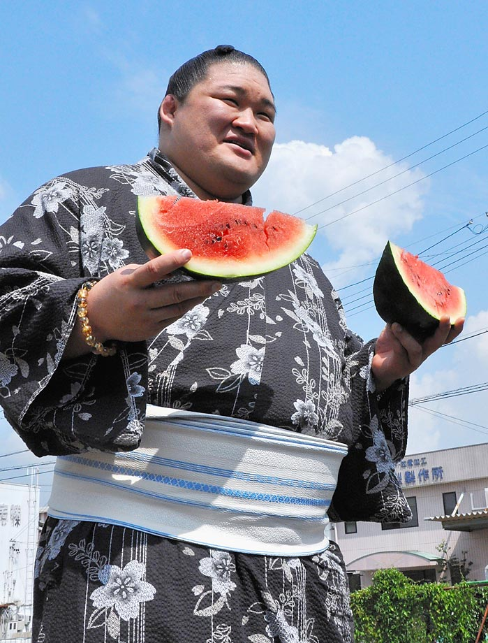 A more authentic Sumo just feelin' melon in Fuso, Aichi, Japan.