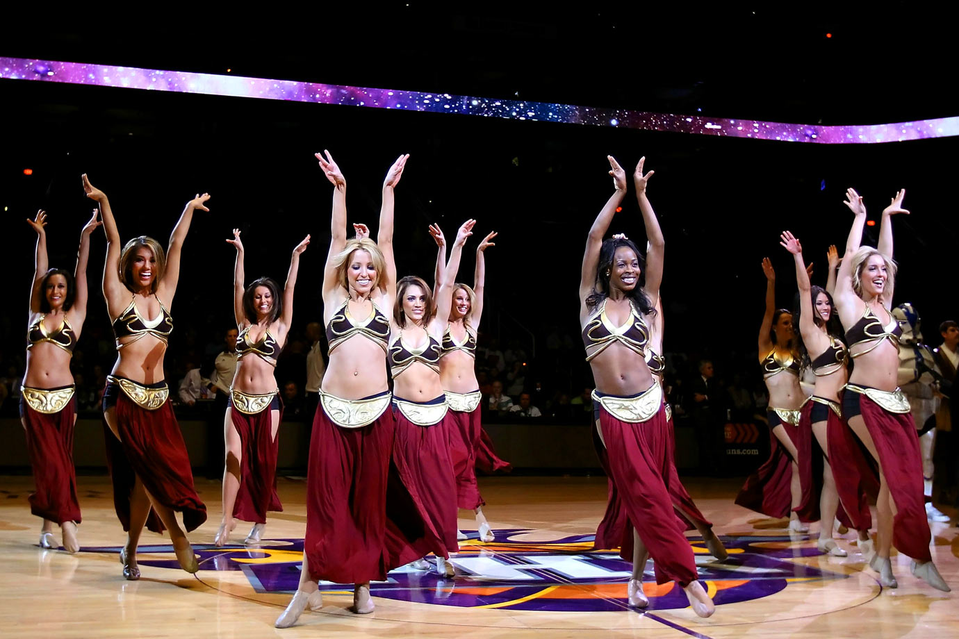 The Phoenix Suns dancers perform in Princess Leia-themed outfits during the Suns game against the Sacramento Kings on Feb. 13, 2011 at US Airways Center in Phoenix.