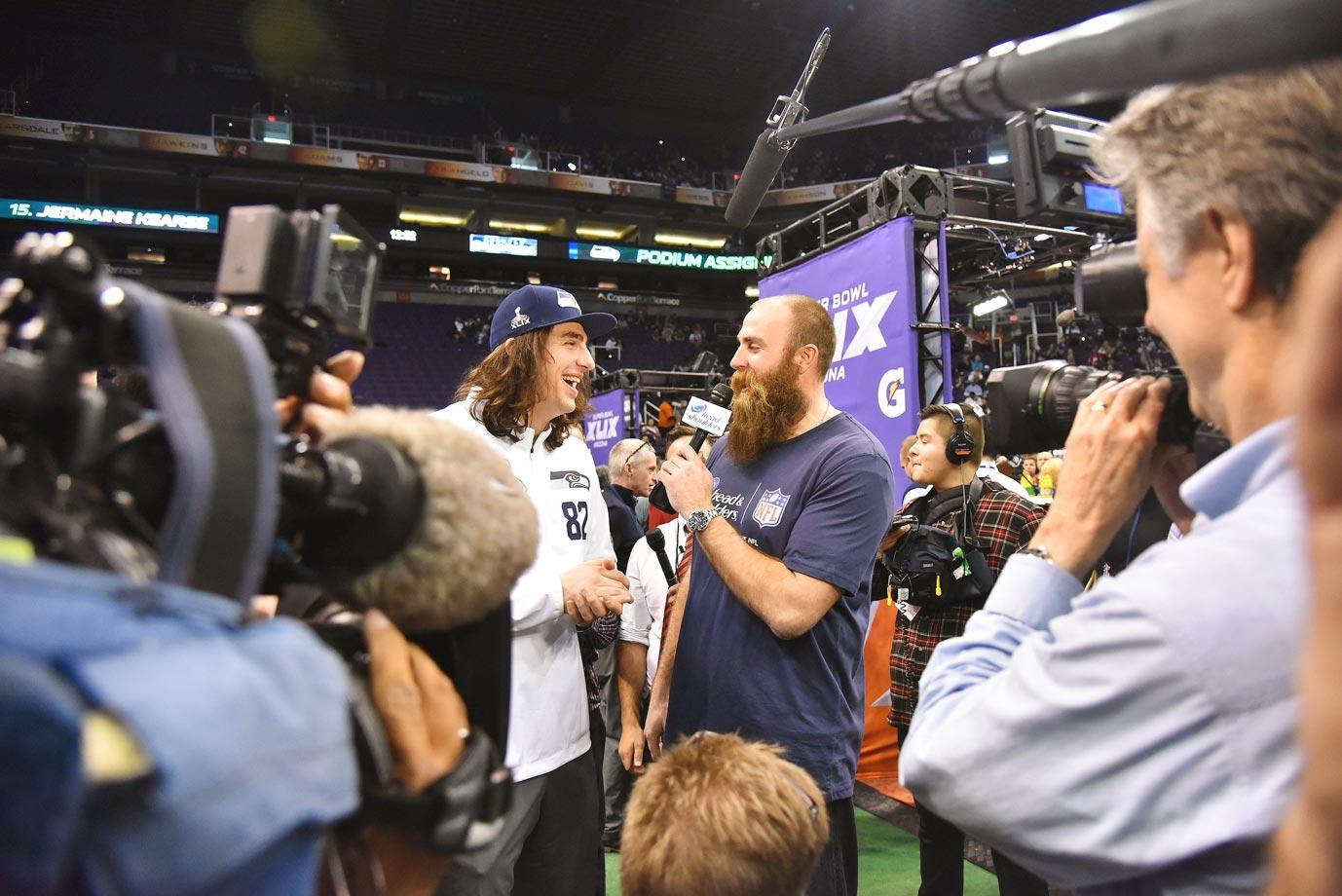 Luke Willson of the Seattle Seahawks addresses the media at media day.
