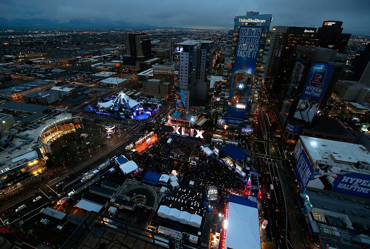 General view of downtown area festivities for Super Bowl XLIX on Friday night.