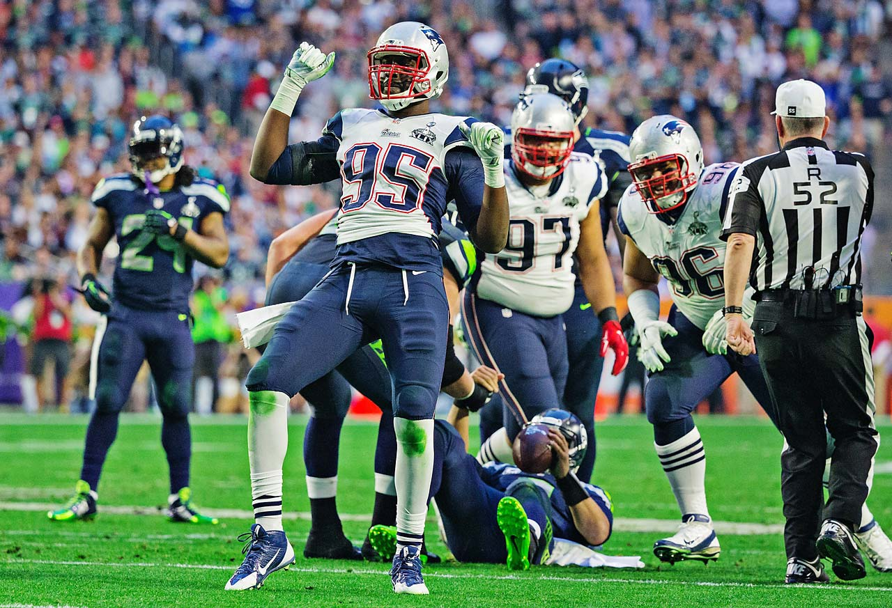 Chandler Jones celebrates one of the three sacks of Russell Wilson.