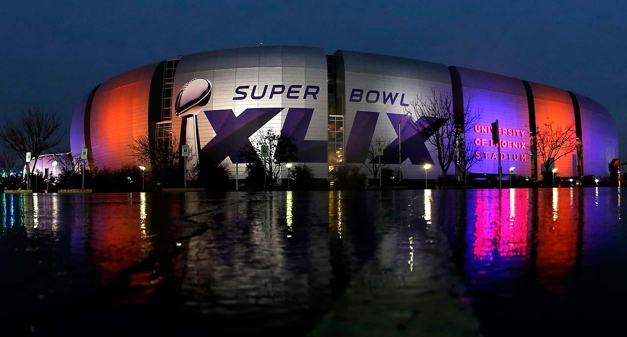 The Super Bowl XLIX is displayed on the University of Phoenix Stadium Thursday in Glendale, Ariz.
