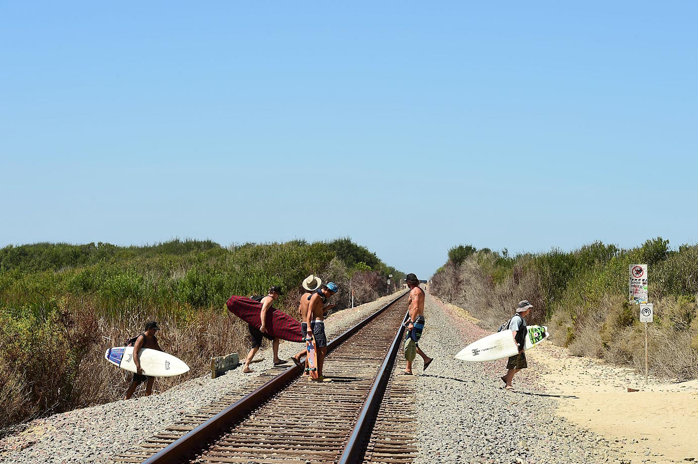 Crossing the tracks to the beach.