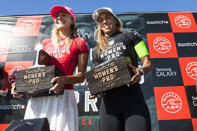 Stephanie Gilmore and Sally Fitzgibbons of Australia during the awards ceremony at the Swatch Women's Pro.
