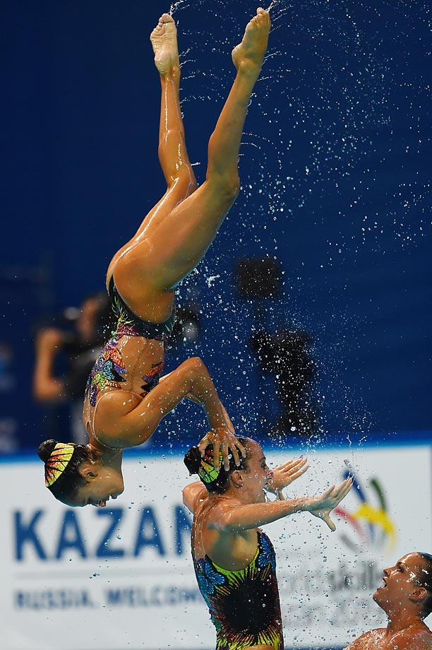 Team USA competes in the Team Free preliminary event at the FINA World Championships in Kazan.