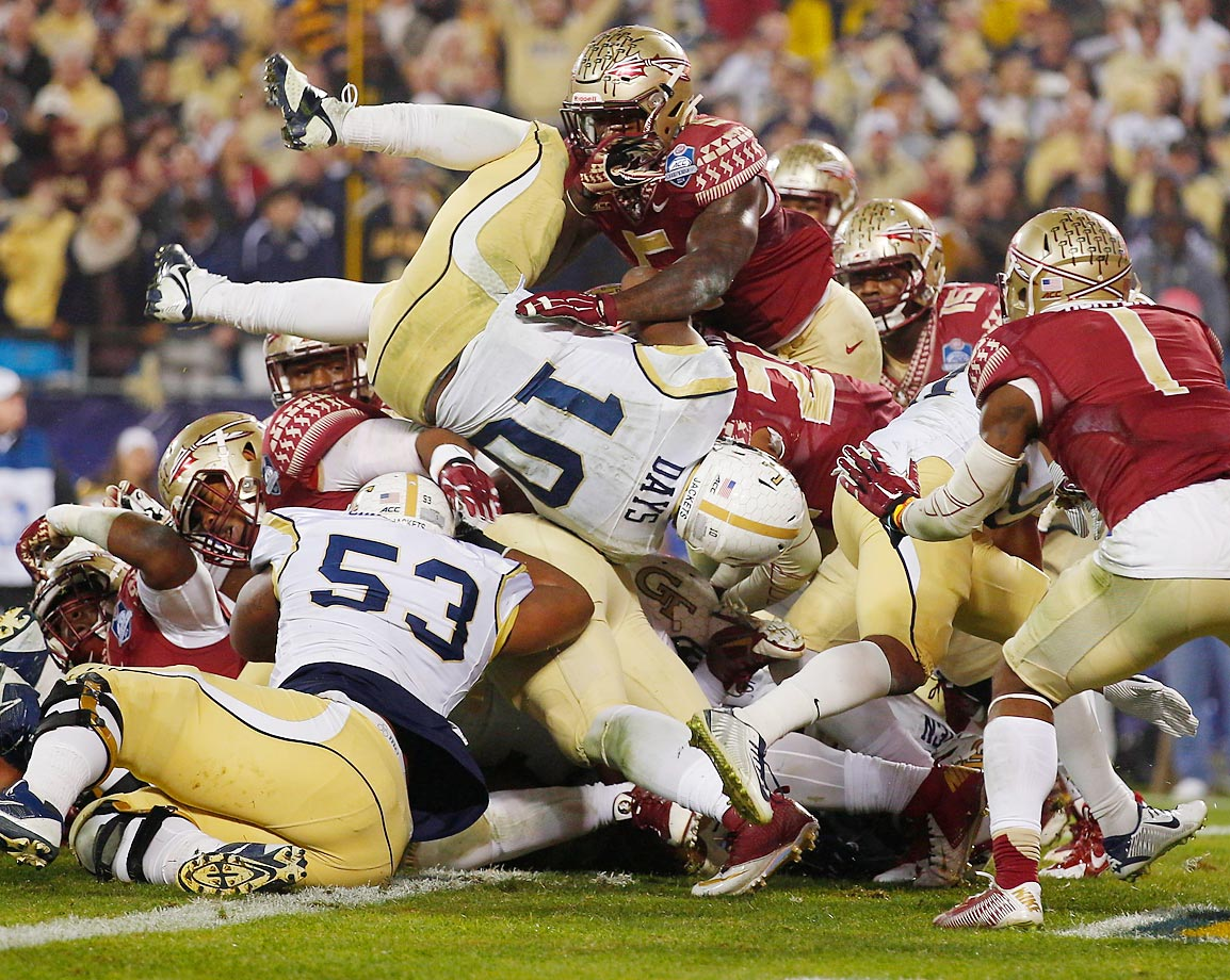 Georgia Tech running back Synjyn Days dives in for a touchdown against Florida State.