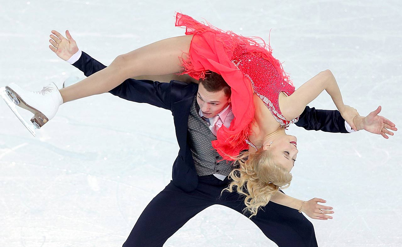 Ekaterina Bobrova and Dmitri Soloviev of Russia compete in the Figure Skating Team Ice Dance - Short Dance.
