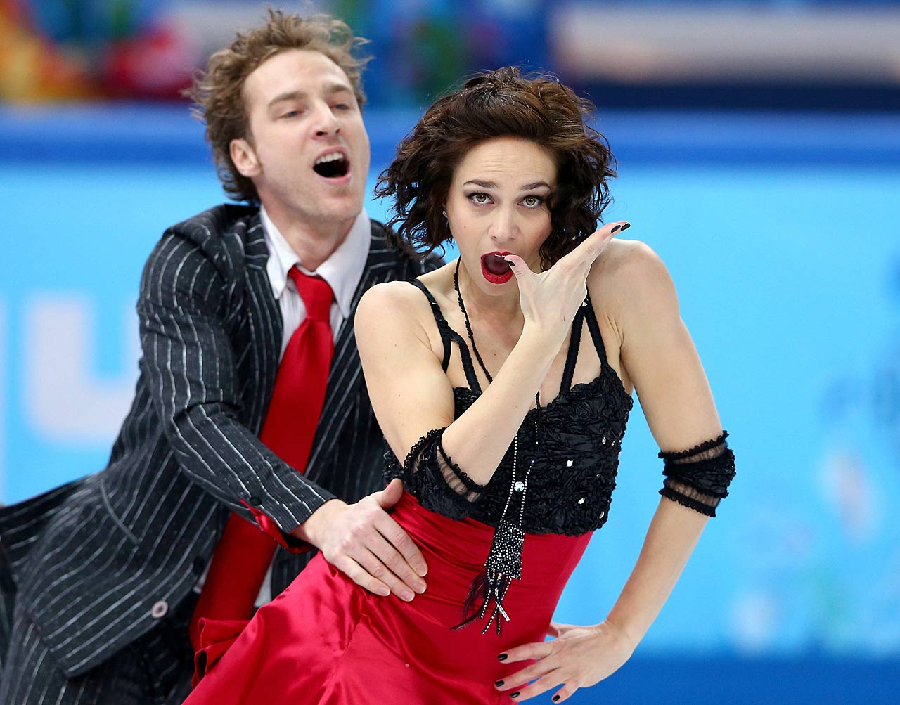 Nathalie Pechalat and Fabian Bourzat of France compete in the Figure Skating Team Ice Dance - Short Dance.