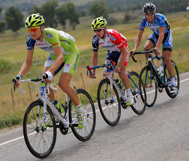 Ted King leads the peloton during a stage in the USA Pro Challenge in Colorado. King partnered with the Cochran boys and Andrew Gardner to create UnTapped, a company looking to popularize maple syrup as sports fuel.