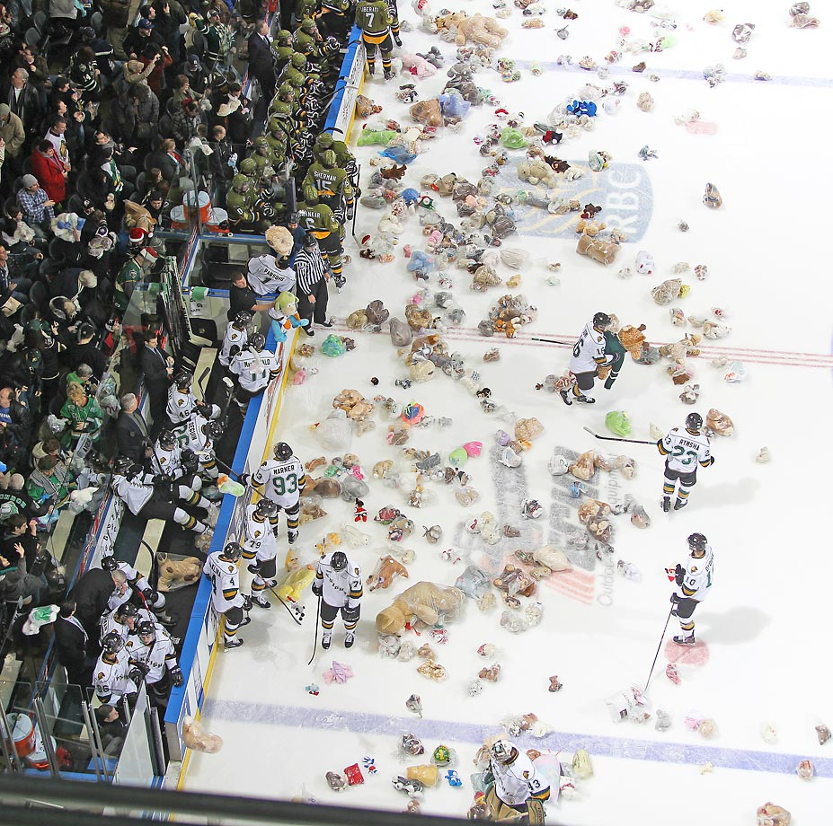An estimated 9,077 bears hit the ice during the annual Tedy Bear Toss game between the North Bay Battalion and the London Knights.  The Knights defeated the Battalion 5-4 in overtime.